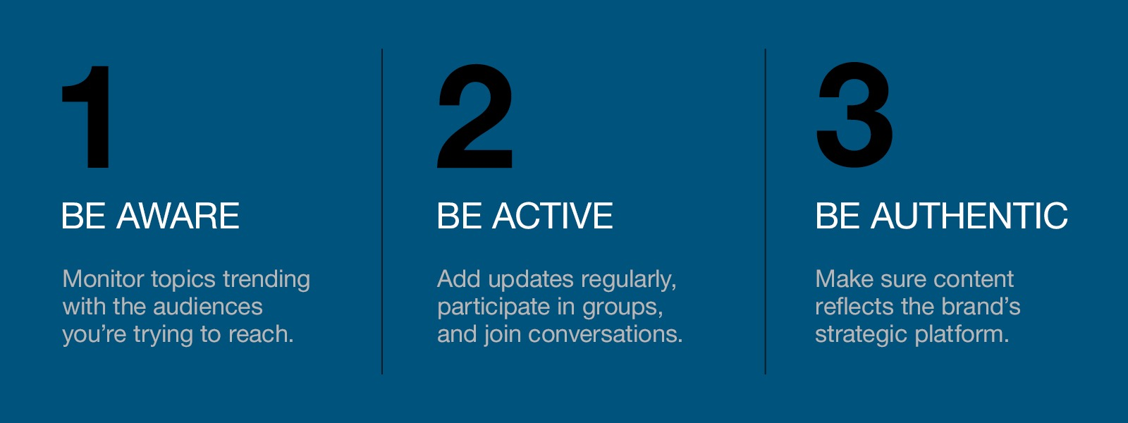 1. Be aware, 2. Be active, 3. Be authentic