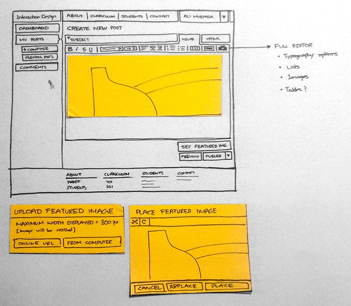 This low-fidelity prototype of a new web design for SCAD's Interaction Design department shows the initial concepts for improving reading and posting interactions. (View large version)